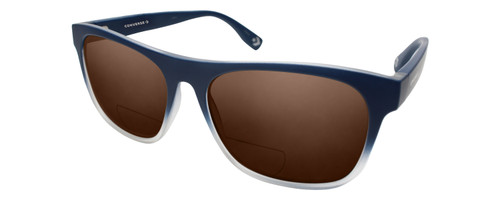 Profile View of Converse H093 Designer Polarized Reading Sunglasses with Custom Cut Powered Amber Brown Lenses in Matte Blue Navy Crystal Unisex Rectangle Full Rim Acetate 60 mm