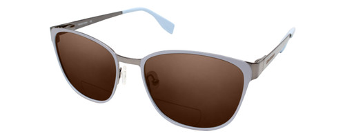 Profile View of Converse Q204 Designer Polarized Reading Sunglasses with Custom Cut Powered Amber Brown Lenses in Light Blue Silver Unisex Oval Full Rim Stainless Steel 52 mm