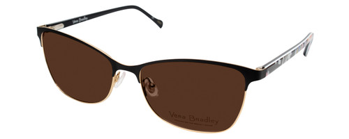 Profile View of Vera Bradley SUZANA Designer Polarized Sunglasses with Custom Cut Amber Brown Lenses in Pretty Posies Floral Black Gold Ladies Cateye Full Rim Metal 55 mm