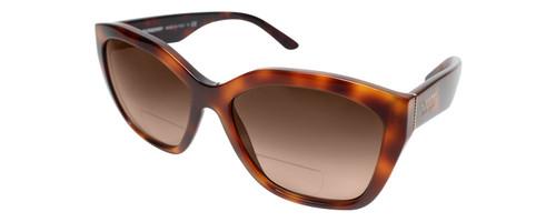 Profile View of Burberry 0BE4261 Designer Polarized Reading Sunglasses with Custom Cut Powered Amber Brown Lenses in Light Havana Tortoise Brown Ladies Oversized Full Rim Acetate 57 mm