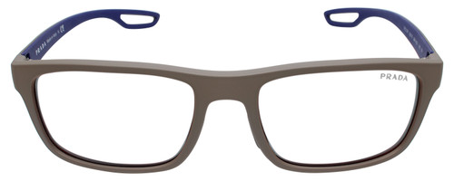 Front View of Prada Linea Rossa 0PS 03RS Designer Reading Eye Glasses with Single Vision Prescription Rx Lenses in Brown Grey Rubber Ladies Rectangle Full Rim Acetate 56 mm
