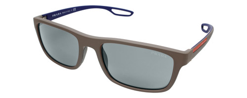 Profile View of Prada Linea Rossa 0PS 03RS Designer Polarized Sunglasses with Custom Cut Smoke Grey Lenses in Brown Grey Rubber Ladies Rectangle Full Rim Acetate 56 mm