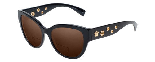 Profile View of Versace GB1 Designer Polarized Reading Sunglasses with Custom Cut Powered Amber Brown Lenses in Black Copper Ladies Cateye Full Rim Acetate 56 mm