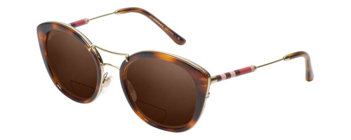 Profile View of Burberry BE4251Q Designer Polarized Reading Sunglasses with Custom Cut Powered Amber Brown Lenses in Tortoise Havana Brown Gold Ladies Cateye Full Rim Metal 53 mm