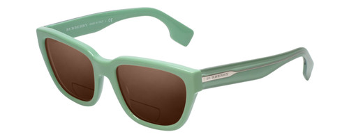 Profile View of Burberry BE4277 Designer Polarized Reading Sunglasses with Custom Cut Powered Amber Brown Lenses in Green Ladies Classic Full Rim Acetate 54 mm