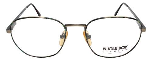 Bugle Boy Unisex Designer Eyeglasses Green Tortoise Havana Gold Round Metal 48mm
