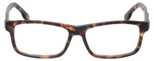 Front View of Diesel DL5090 Designer Reading Eye Glasses with Single Vision Prescription Rx Lenses in Havana Tortoise Brown Gold Mens Rectangle Full Rim Acetate 54 mm