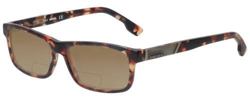 Profile View of Diesel DL5090 Designer Polarized Reading Sunglasses with Custom Cut Powered Amber Brown Lenses in Havana Tortoise Brown Gold Mens Rectangle Full Rim Acetate 54 mm