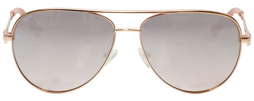 Front View of Guess Factory GF6098 Aviator Sunglass Rose Gold/Red Gradient Silver Mirror 64mm