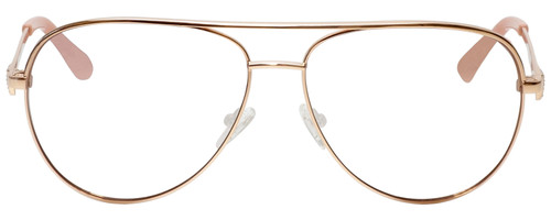 Front View of Guess Factory GF6098 Designer Reading Eye Glasses with Single Vision Prescription Rx Lenses in Rose Gold Ladies Aviator Full Rim Metal 64 mm