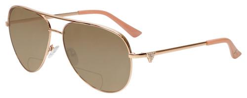 Profile View of Guess Factory GF6098 Designer Polarized Reading Sunglasses with Custom Cut Powered Amber Brown Lenses in Rose Gold Ladies Aviator Full Rim Metal 64 mm