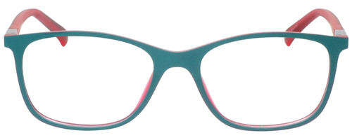 Front View of Guess GU3004 Designer Reading Eye Glasses with Single Vision Prescription Rx Lenses in Turquoise Pink Crystal Blue Green Unisex Cateye Full Rim Acetate 51 mm