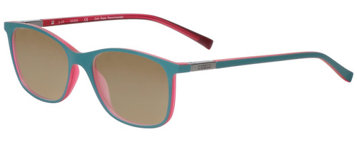 Profile View of Guess GU3004 Designer Polarized Sunglasses with Custom Cut Amber Brown Lenses in Turquoise Pink Crystal Blue Green Unisex Cateye Full Rim Acetate 51 mm