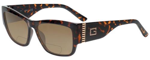 Profile View of Guess GU7623 Designer Polarized Reading Sunglasses with Custom Cut Powered Amber Brown Lenses in Havana Tortoise Ladies Cateye Full Rim Acetate 57 mm