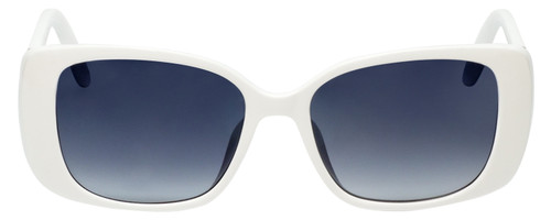 Front View of Guess GU7631-21B-53mm Ladies Butterfly Sunglasses White with/Smoke Grey Gradient