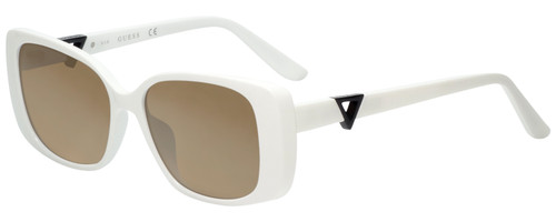 Profile View of Guess GU7631 Designer Polarized Sunglasses with Custom Cut Amber Brown Lenses in White Ladies Butterfly Full Rim Acetate 53 mm
