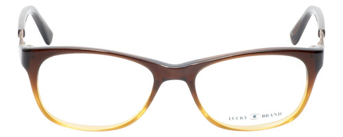Front View of Lucky Brand Palm Designer Reading Eye Glasses with Custom Cut Powered Lenses in Brown Crystal Fade Unisex Square Full Rim Acetate 52 mm