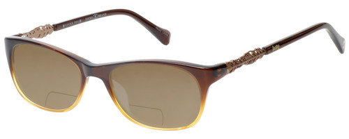 Profile View of Lucky Brand Palm Designer Polarized Reading Sunglasses with Custom Cut Powered Amber Brown Lenses in Brown Crystal Fade Unisex Square Full Rim Acetate 52 mm