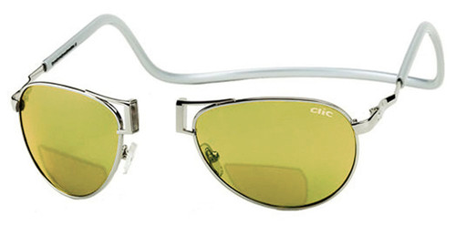 Clic Aviator in Silver Polarized Bi-Focal Reading Sunglasses