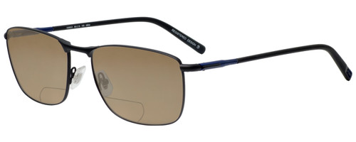 Profile View of OGA 10063O-NB04 Designer Polarized Reading Sunglasses with Custom Cut Powered Amber Brown Lenses in Satin Black Blue Unisex Rectangle Full Rim Metal 59 mm
