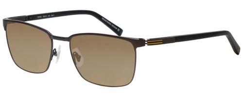 Profile View of OGA 10073O-MD11 Designer Polarized Sunglasses with Custom Cut Amber Brown Lenses in Satin Brown Black Gold Unisex Rectangle Full Rim Metal 58 mm