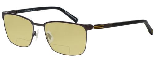Profile View of OGA 10073O-MD11 Designer Polarized Reading Sunglasses with Custom Cut Powered Sun Flower Yellow Lenses in Satin Brown Black Gold Unisex Rectangle Full Rim Metal 58 mm