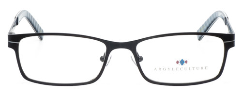 Front View of Argyleculture Bix Designer Reading Eye Glasses with Custom Cut Powered Lenses in Black Silver Grey Stripe Unisex Rectangle Full Rim Metal 55 mm