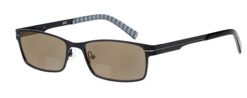 Profile View of Argyleculture Bix Designer Polarized Reading Sunglasses with Custom Cut Powered Amber Brown Lenses in Black Silver Grey Stripe Unisex Rectangle Full Rim Metal 55 mm