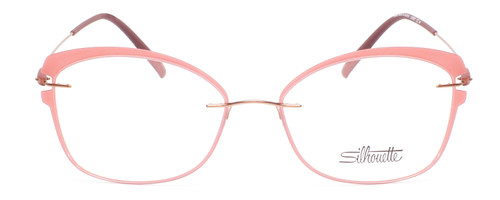 Front View of Silhouette Dynamic Color Ladies Cateye Designer Reading Glasses Matte Pink 53 mm