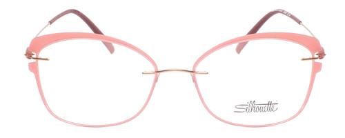 Front View of Silhouette Dynamic Color Wave Designer Progressive Lens Prescription Rx Eyeglasses in Matte Pink Ladies Cateye Full Rim Acetate 53 mm