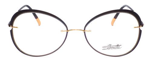Front View of Silhouette Dynamic Color Wave Designer Bi-Focal Prescription Rx Eyeglasses in Matte Black Ladies Round Full Rim Acetate 55 mm