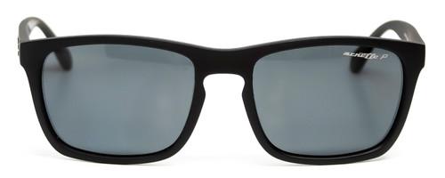 Front View of Arnette BURNSIDE Unisex Cateye Full Rim Sunglasses Matte Black/Grey AN4236 56 mm