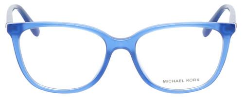 Front View of Michael Kors SANTA CLARA Designer Reading Eye Glasses with Custom Cut Powered Lenses in Twilight Navy Blue Unisex Cateye Full Rim Acetate 53 mm