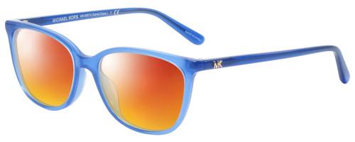 Profile View of Michael Kors SANTA CLARA Designer Polarized Sunglasses with Custom Cut Red Mirror Lenses in Twilight Navy Blue Unisex Cateye Full Rim Acetate 53 mm