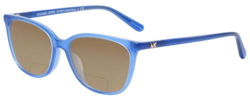 Profile View of Michael Kors SANTA CLARA Designer Polarized Reading Sunglasses with Custom Cut Powered Amber Brown Lenses in Twilight Navy Blue Unisex Cateye Full Rim Acetate 53 mm