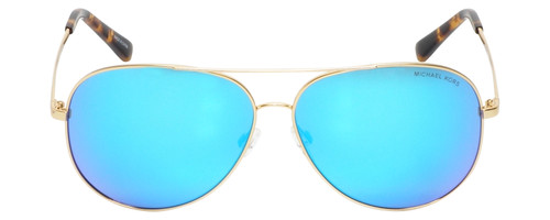 Front View of Michael Kors KENDALL Ladies Aviator Sunglasses in Gold Tortoise/Blue Mirror 60mm