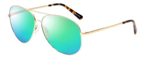 Profile View of Michael Kors KENDALL Designer Polarized Reading Sunglasses with Custom Cut Powered Green Mirror Lenses in Gold Tortoise Havana Ladies Aviator Full Rim Metal 60 mm
