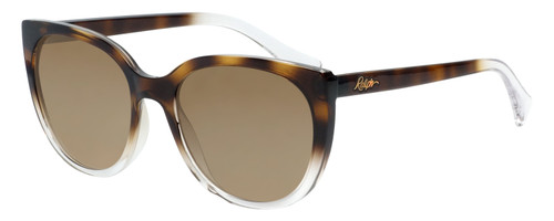 Profile View of Ralph Lauren  Designer Polarized Sunglasses with Custom Cut Amber Brown Lenses in Tortoise Havana Crystal Ladies Cateye Full Rim Acetate 55 mm