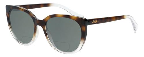Profile View of Ralph Lauren  Designer Polarized Reading Sunglasses with Custom Cut Powered Smoke Grey Lenses in Tortoise Havana Crystal Ladies Cateye Full Rim Acetate 55 mm