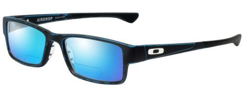 Profile View of Oakley Airdrop Designer Polarized Reading Sunglasses with Custom Cut Powered Blue Mirror Lenses in Satin Balsam Black Blue Unisex Rectangle Full Rim Acetate 55 mm