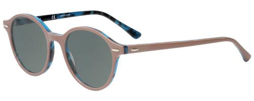 Profile View of Ray-Ban Dean Designer Polarized Sunglasses with Custom Cut Smoke Grey Lenses in Brown Tortoise Havana Blue Ladies Round Full Rim Acetate 50 mm