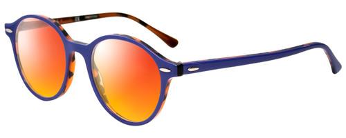 Profile View of Ray-Ban Dean Designer Polarized Sunglasses with Custom Cut Red Mirror Lenses in Violet Purple Tortoise Havana Orange Ladies Round Full Rim Acetate 50 mm