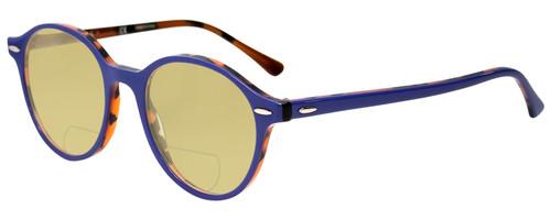 Profile View of Ray-Ban Dean Designer Polarized Reading Sunglasses with Custom Cut Powered Sun Flower Yellow Lenses in Violet Purple Tortoise Havana Orange Ladies Round Full Rim Acetate 50 mm
