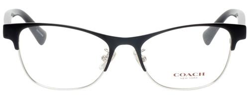 Front View of Coach HC5074 Designer Single Vision Prescription Rx Eyeglasses in Satin Black Silver Unisex Cateye Full Rim Metal 52 mm