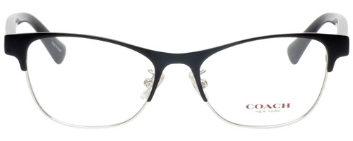 Front View of Coach HC5074 Designer Progressive Lens Prescription Rx Eyeglasses in Satin Black Silver Unisex Cateye Full Rim Metal 52 mm