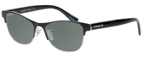 Profile View of Coach HC5074 Designer Polarized Sunglasses with Custom Cut Smoke Grey Lenses in Satin Black Silver Unisex Cateye Full Rim Metal 52 mm