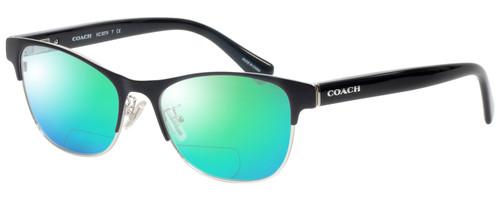 Profile View of Coach HC5074 Designer Polarized Reading Sunglasses with Custom Cut Powered Green Mirror Lenses in Satin Black Silver Unisex Cateye Full Rim Metal 52 mm
