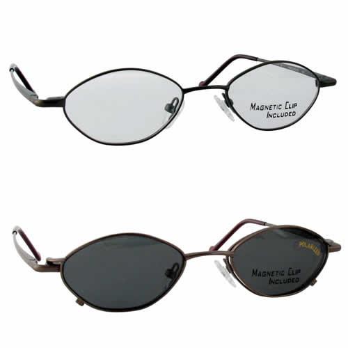 Magnetic Clip-On 229 Polarized Reading Sunglasses :: Custom Left & Right Lens