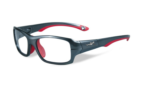 Wiley-X Youth Force Series 'Fierce' in Dark Silver & Red Safety Eyeglasses :: Custom Left & Right Lens