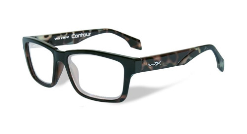 Wiley-X Contour Optical Eyeglass Collection in Gloss-Demi-Black (WSCON06) :: Custom Left & Right Lens
